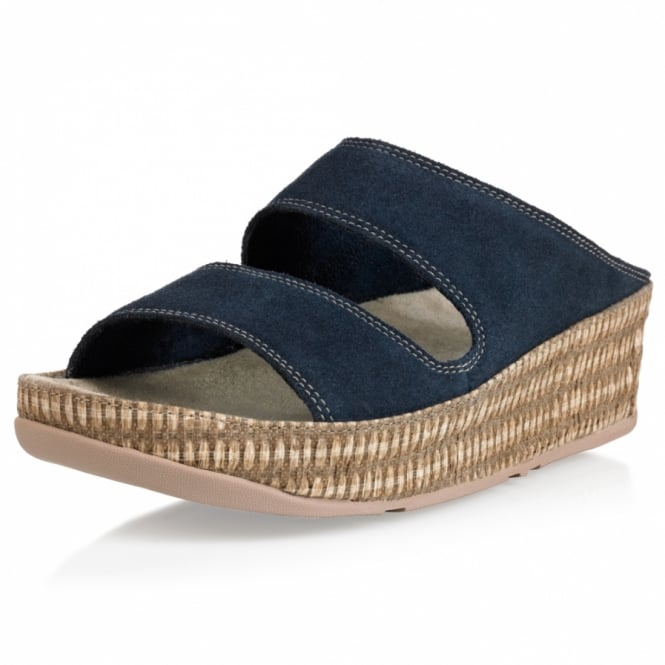 FitFlop Lolla Womens Suede Leather Espadrille Mule Sandals - Super Navy Blue
