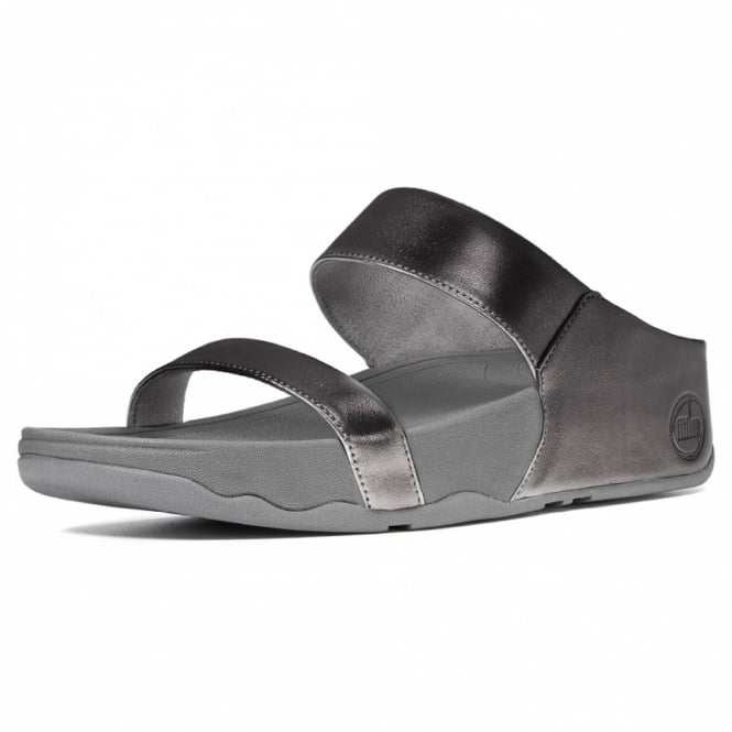 Buy Fitflop Lulu Slide Sandals In Pewter Grey Leather At