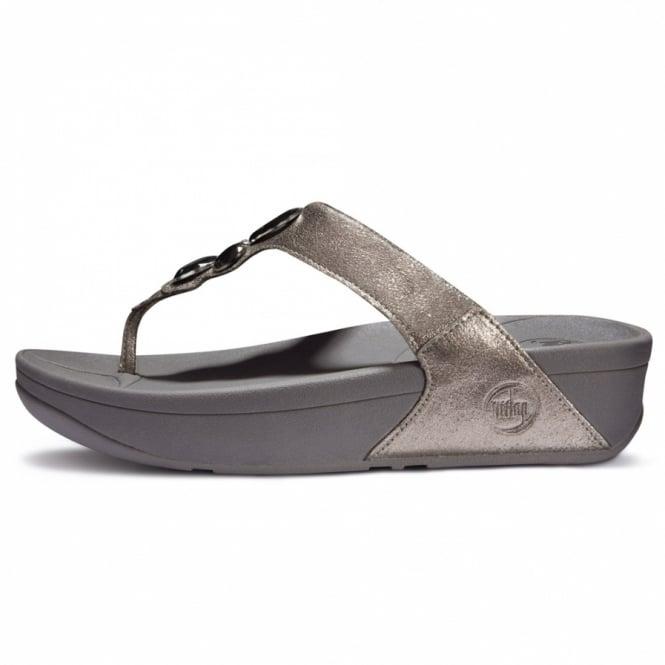 2c2a0ff49da0d5 FitFlop Lunetta Womens Leather Diamante Jewel Toepost Sandals - Pewter