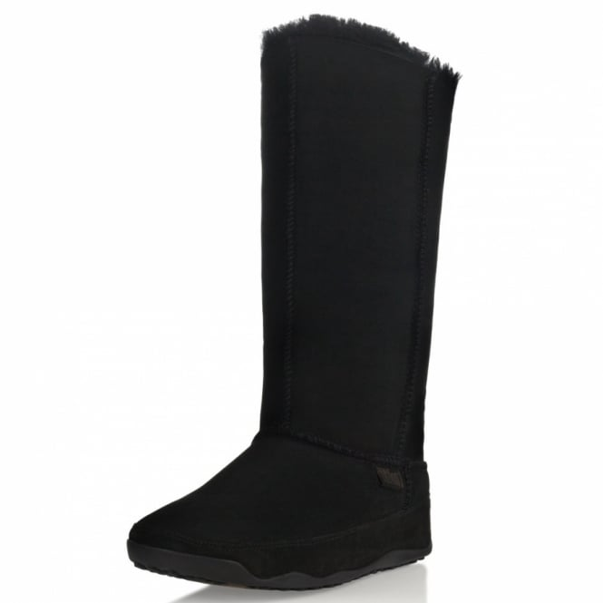 8a74472c439 FitFlop Mukluk Tall Womens Leather Mid-calf Boots - Black - Womens ...