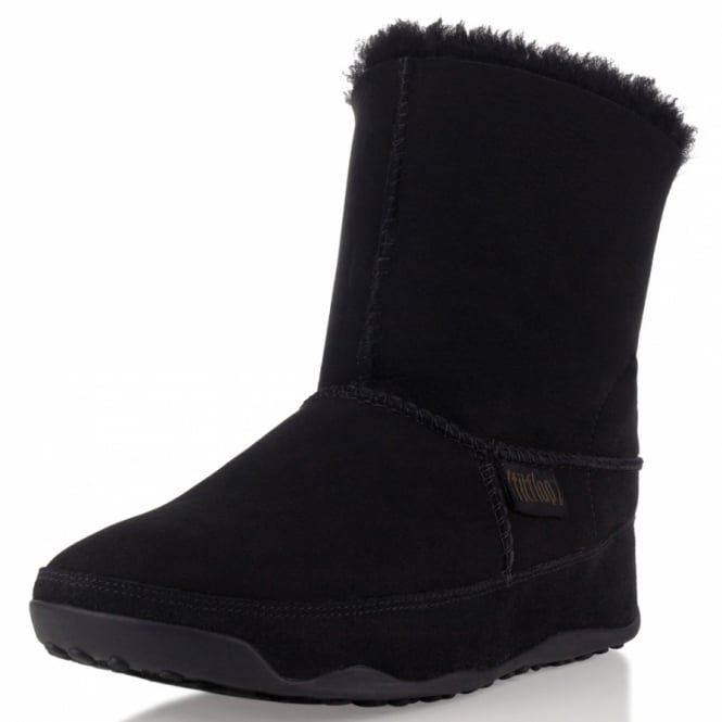 b68d8616f81 FitFlop Mukluk Womens Leather Ankle Boots - Black - Womens from ...