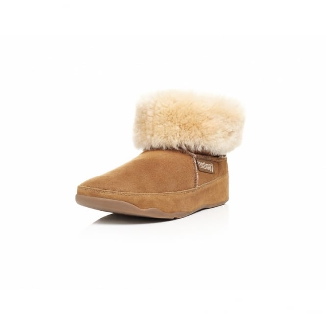 79b2bb98cfbdb FitFlop Mukluk Womens Leather Fur Mocassin Ankle Boots - Chestnut Brown