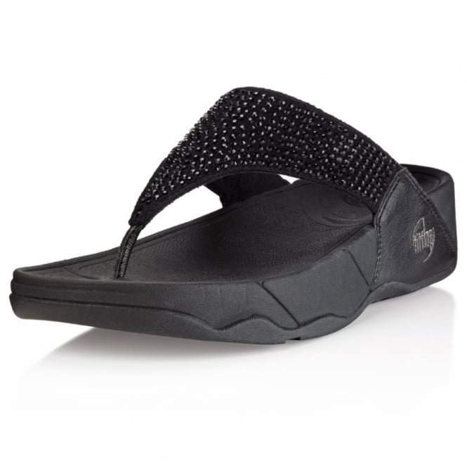 FitFlop Rokkit Womens Crystal Shimmer Toe-post Sandals - Black Diamond
