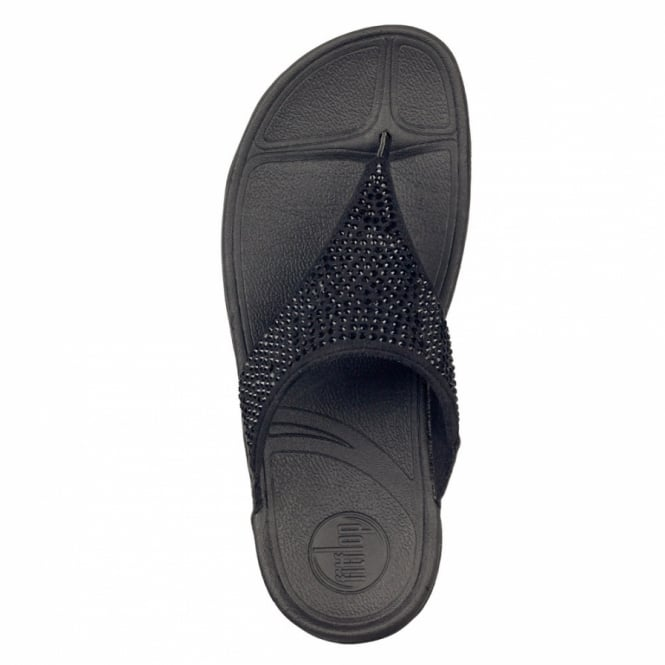 fb2c86bfa0bbb5 FitFlop FitFlop Rokkit Womens Crystal Shimmer Toe-post Sandals - Black  Diamond
