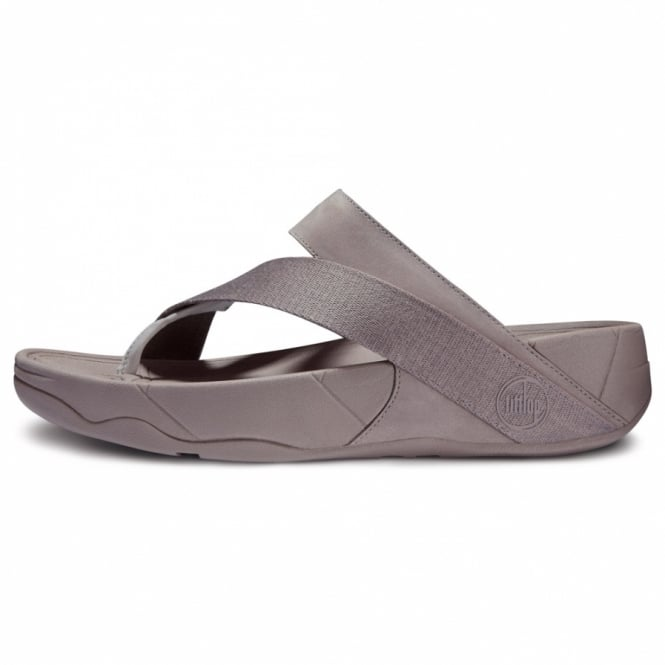 9e2ab1e7347e FitFlop Sling Sport Womens Leather and Canvas Strapped Sandals - Mink Grey