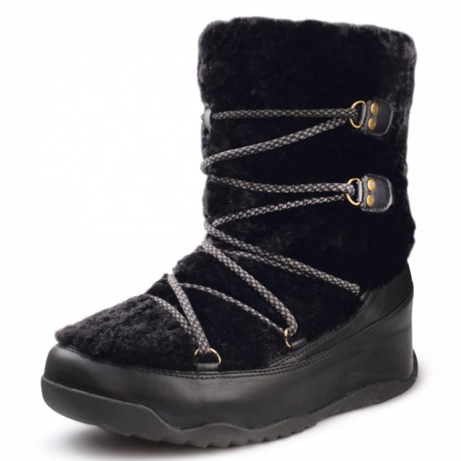 5f66ba51c8 FitFlop Superblizz Womens Leather Plush Shearling Winter Ankle Boots - Black