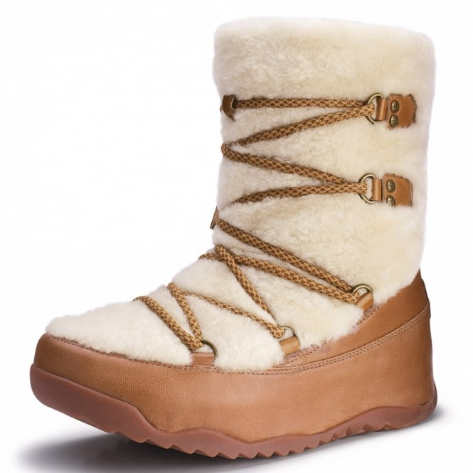 5bfc1f1efd FitFlop Superblizz Womens Leather Plush Shearling Winter Ankle Boots -  Maple Brown