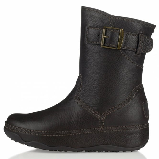 9a7542058e8311 FitFlop Superboot Short Womens Leather Ankle Boots - Chocolate Brown