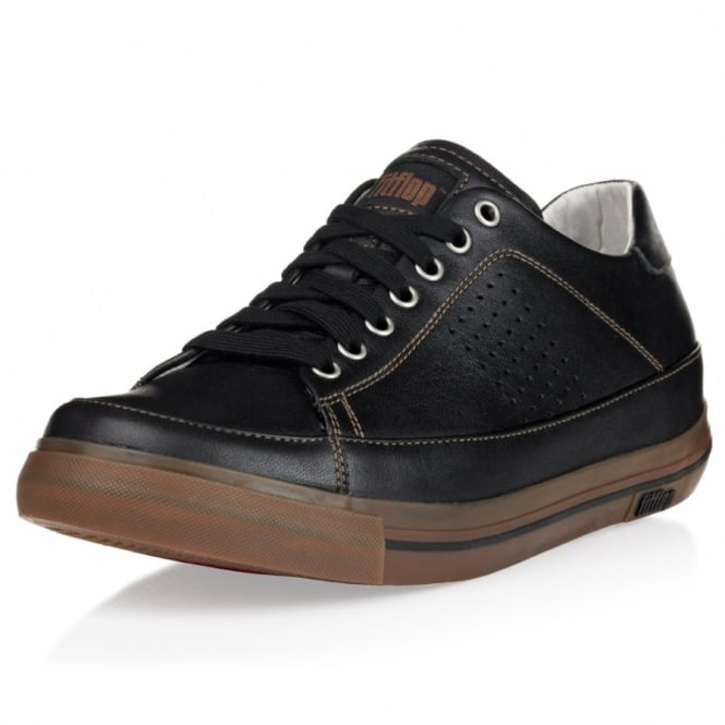 fitflop supertone m mens leather trainers black toffee