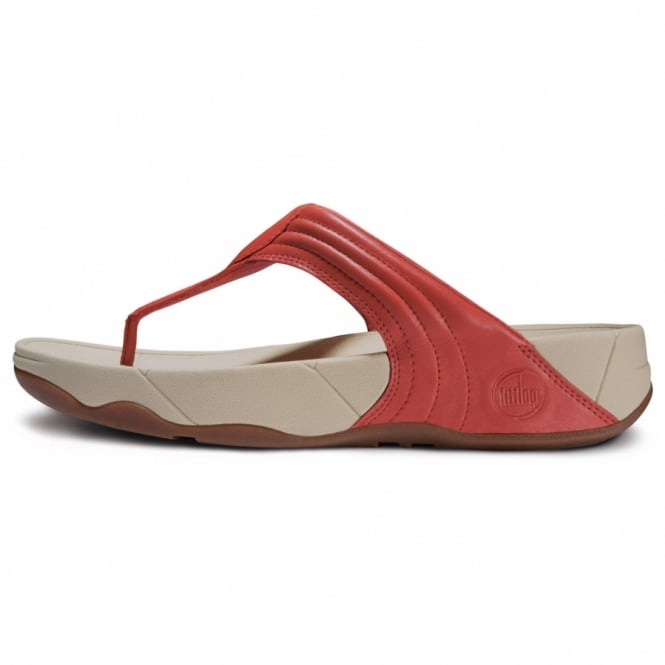 30cf5738642c FitFlop Walkstar 3 Womens Leather Toepost Sandals in Mineral Red ...