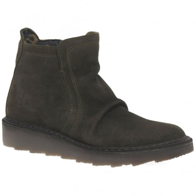 Fly London Adit 951 Womens Suede Ankle Boots - Sludge Green