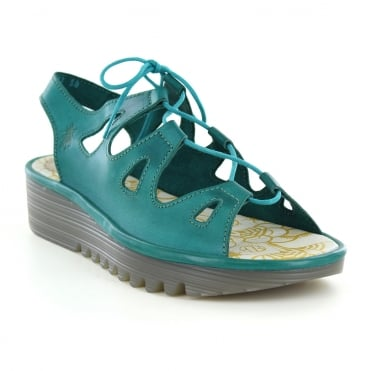 Fly London Exon Womens Leather Lace Up Wedge Sandals - Verdigris Green
