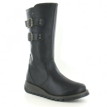 Fly London Suli Womens Leather Mid Calf Boots - Black
