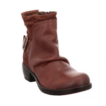 Fly London Mel Womens Leather Ankle Boots - Brick Red