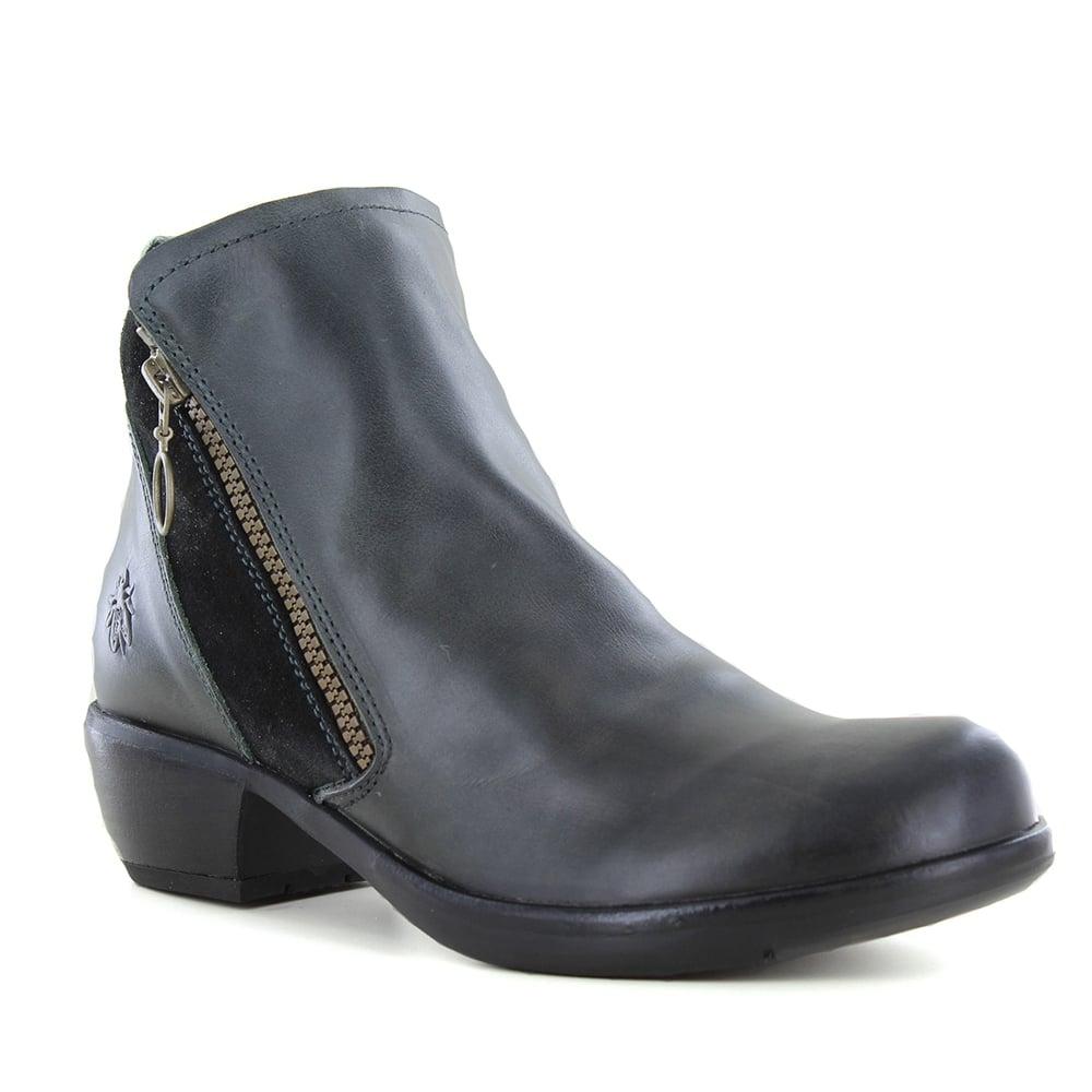dee2689dad3e Fly London Meli Womens Zip Ankle Boots - Diesel Black