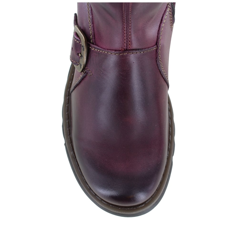 fly mes 2 womens leather mid calf wedge boots purple