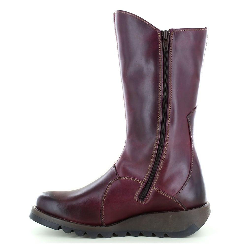 635cdb2c7ec Mes 2 Womens Leather Mid-Calf Wedge Boots - Purple