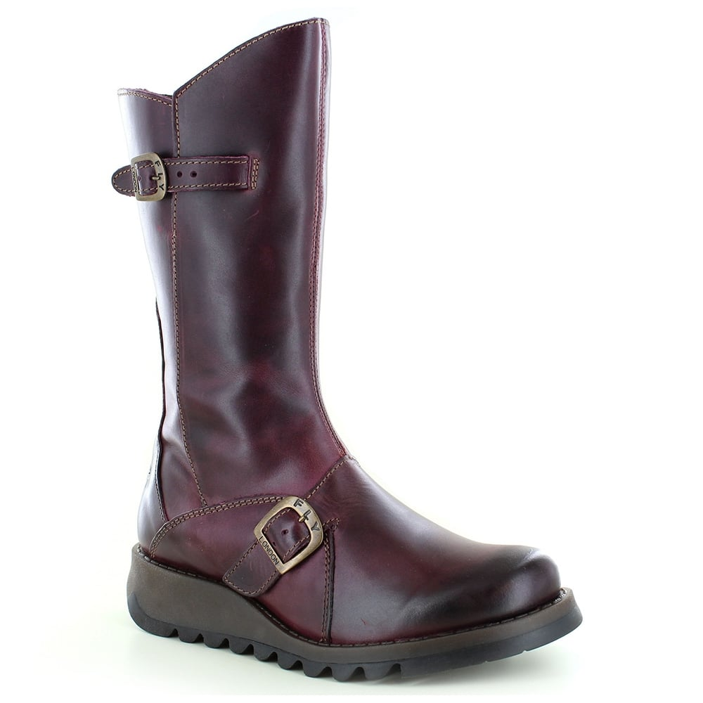 50adf25d439 Mes 2 Womens Leather Mid-Calf Wedge Boots - Purple