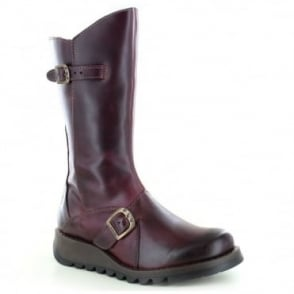 Fly London Mes 2 Womens Leather Mid-Calf Wedge Boots - Purple