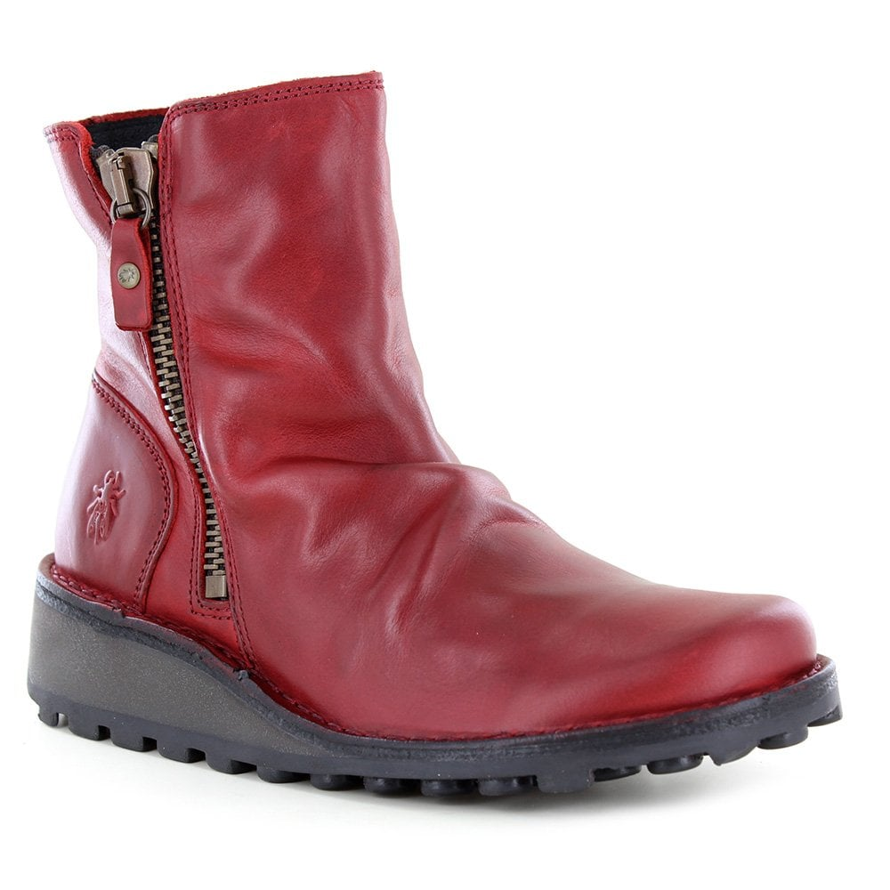 91993298cec Fly London Mong 944 Womens Leather Side Zip Ankle Boots in Red