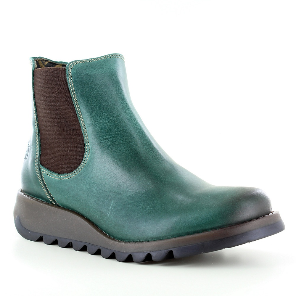 Salv Womens Leather Chelsea Boot Petrol Green