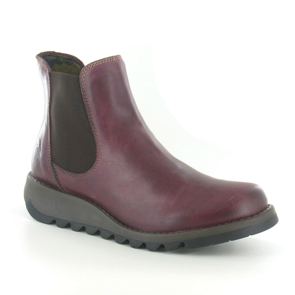 2fb71b5b34cb Fly London Salv Womens Leather Chelsea Boot in Purple at Scorpio Shoes