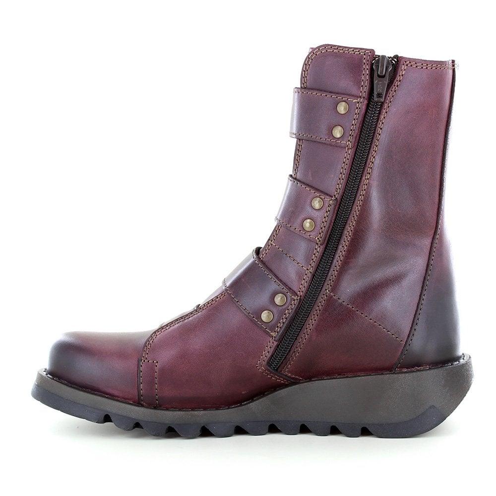 0c30449e473 Fly London Scop 110 Womens Leather 3-Buckle Zip Boots in Purple