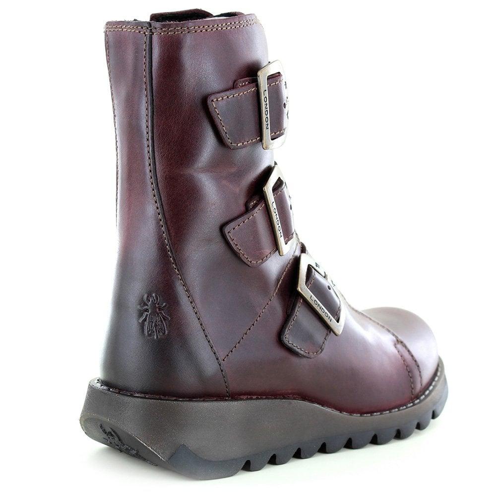 1d01f8a5f2548 Fly London Scop 110 Womens Leather 3-Buckle Zip Boots in Purple
