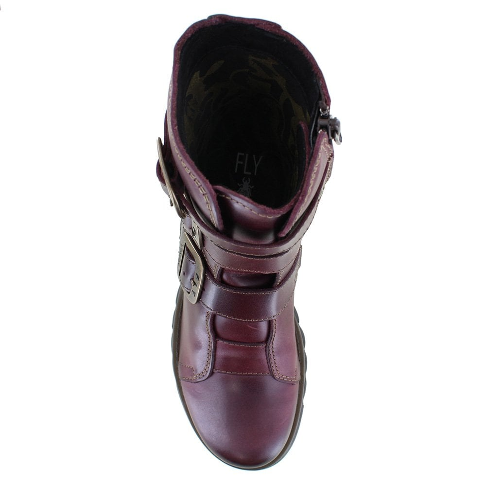 91ab2cae Fly London Scop 110 Womens Leather 3-Buckle Zip Boots in Purple