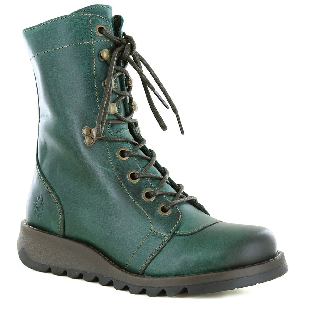 89597ee58646 Fly London Site 360 Womens Leather Boots - Petrol Green