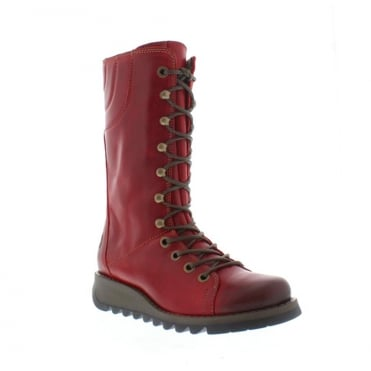 Fly London Ster 768 Womens Leather Mid Calf Boots - Red