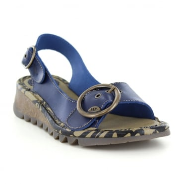 Fly London Tram Womens Leather Slingback Sandals - Blue