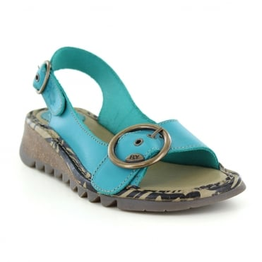 Fly London Tram Womens Leather Slingback Sandals - Verdigris Green