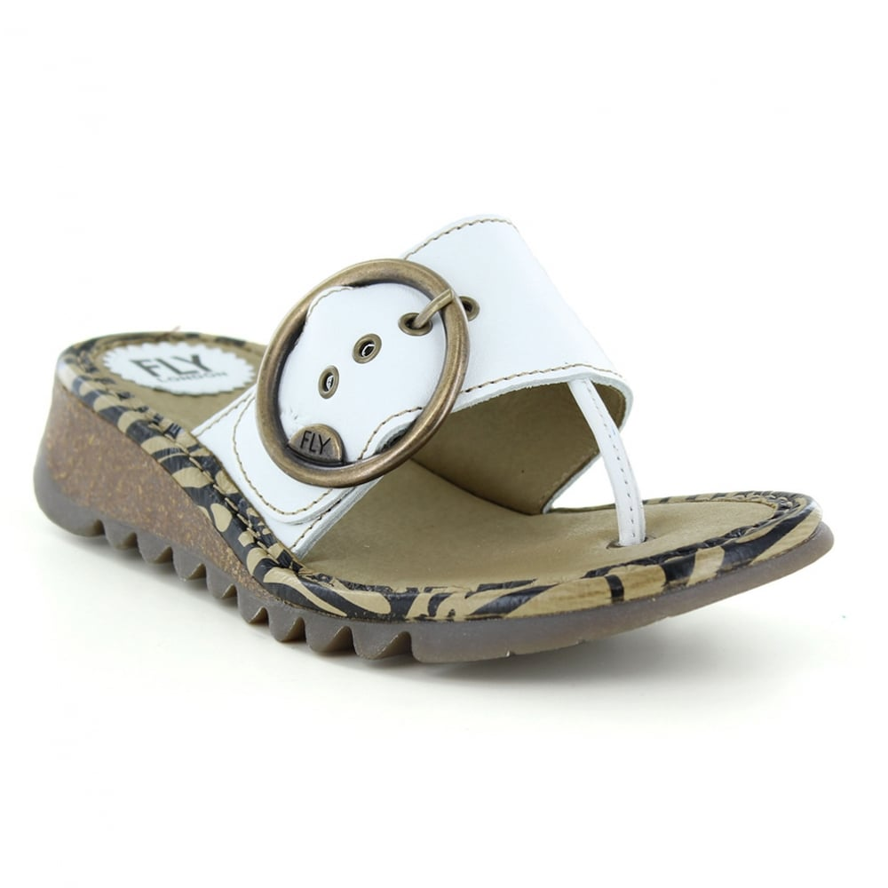 49af927250a50 Fly London Trim Womens Leather Low Wedge Toe Post Sandals - Off White