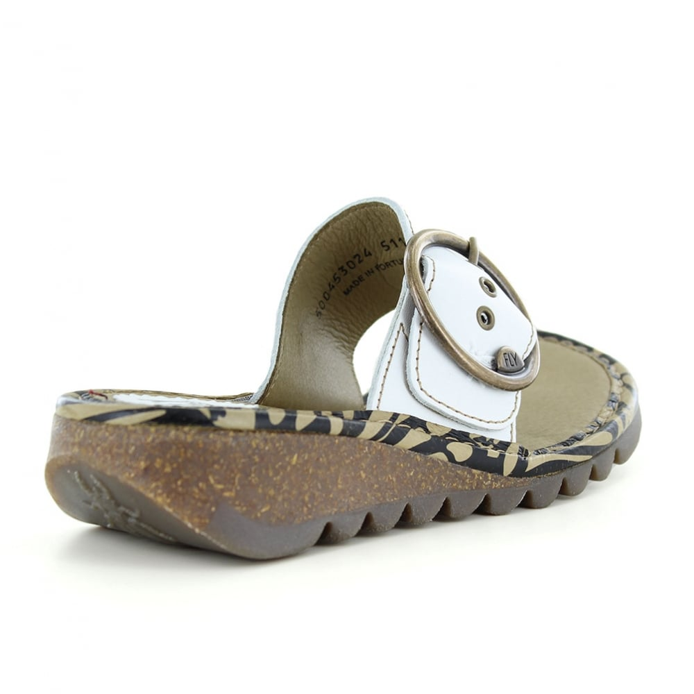 2563d05551a9d Fly London Trim Womens Leather Low Wedge Toe Post Sandals - Off White