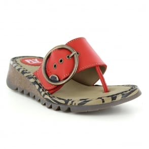 b2ee2cf623d4b Fly London Trim Womens Leather Low Wedge Toe Post Sandals - Scarlet Red