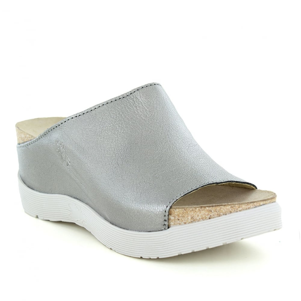 Wigg Womens Leather Sandals Lead Grey