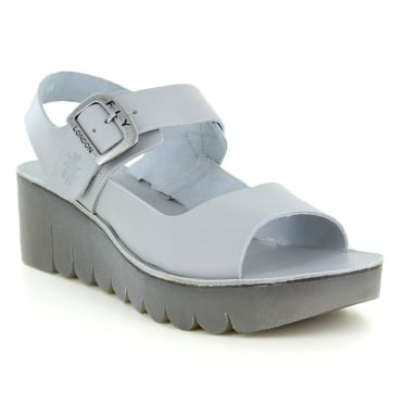 Fly London Yael Womens Leather Wedge Sandals - Cloud Grey