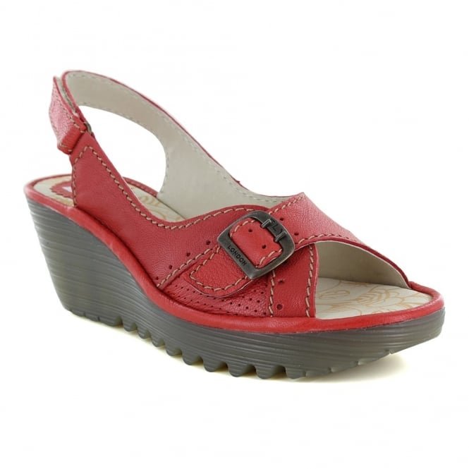 Fly London Yaga Womens Leather Slingback Wedge Sandals - Scarlet Red
