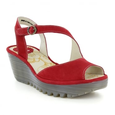 Fly London Yamp Womens Slingback Wedge Sandals - Lipstick Red
