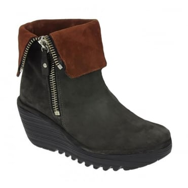 Fly London Yex 668 Womens Suede Fold Down Ankle Boots - Diesel