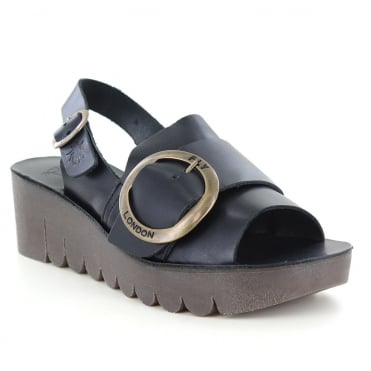 Fly London Yidi Womens Leather Wedge Sandals - Black
