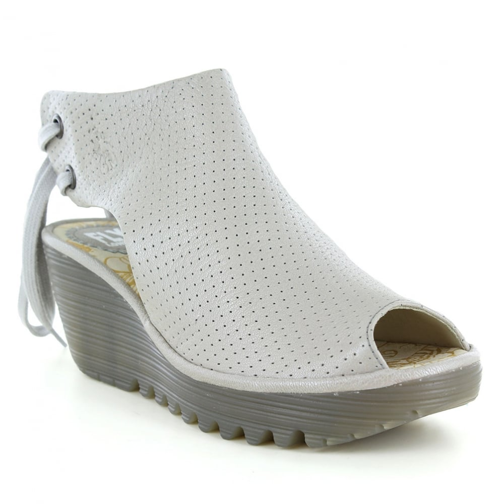 6096f7bcb556 Fly London Ypul Womens Leather Platform Wedge Sandals - Silver