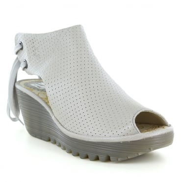 Fly London Ypul Womens Leather Platform Wedge Sandals - Silver