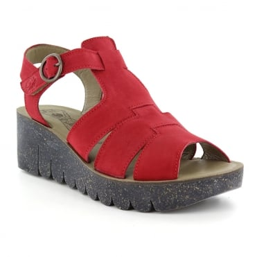 Fly London Yuni Womens Wedge Sandals - Lipstick Red