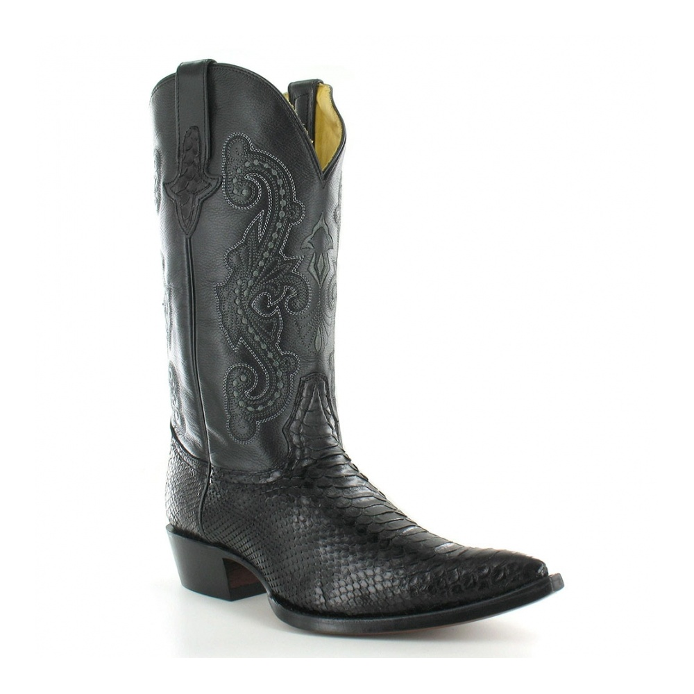 watch hot-selling real delicate colors El Camino Mens Leather And Snakeskin Western Cowboy Boots - Black