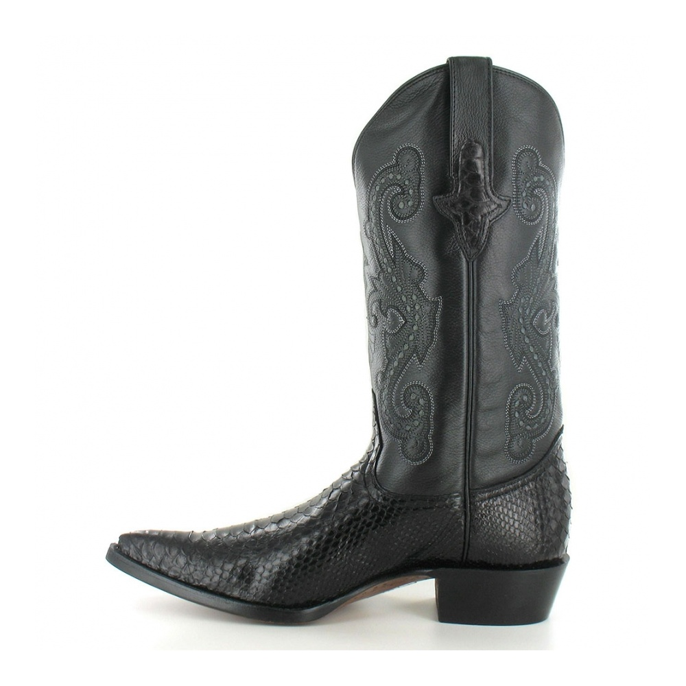 Go West El Camino Mens Leather And Python Skin Western