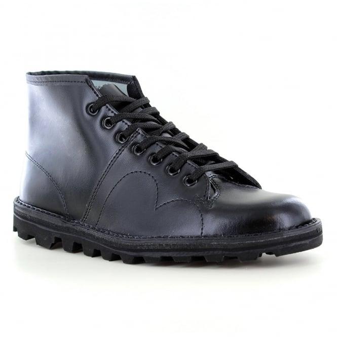 Grafters B430A Boys Leather 7-Eyelet Monkey Boots - Black