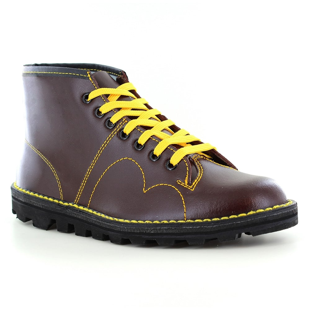 grafters b430bd mens leather 7 eyelet monkey boots   wine