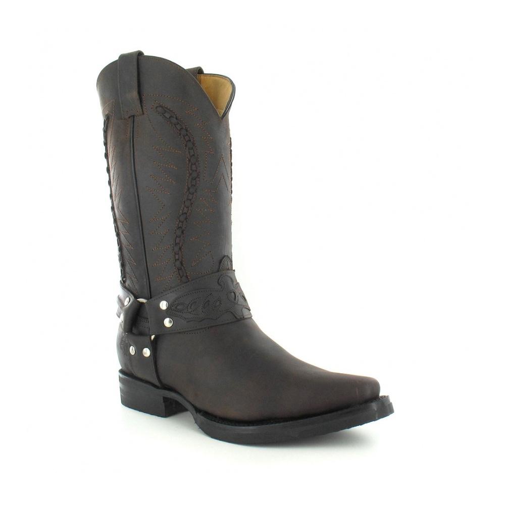 Grinders 105 Galveston Mens Leather Cowboy Boots - Dark Brown 8d0fdfe01